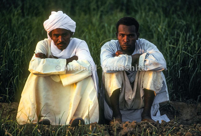 Two Sudanese men sit in an onion field in Taragma, Sudan. Africa.