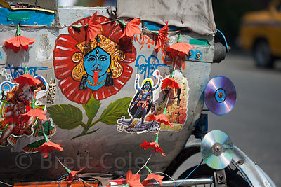 Image of the Goddess Kali on an auto rickshaw in Newmarket, Kolkata, India.
