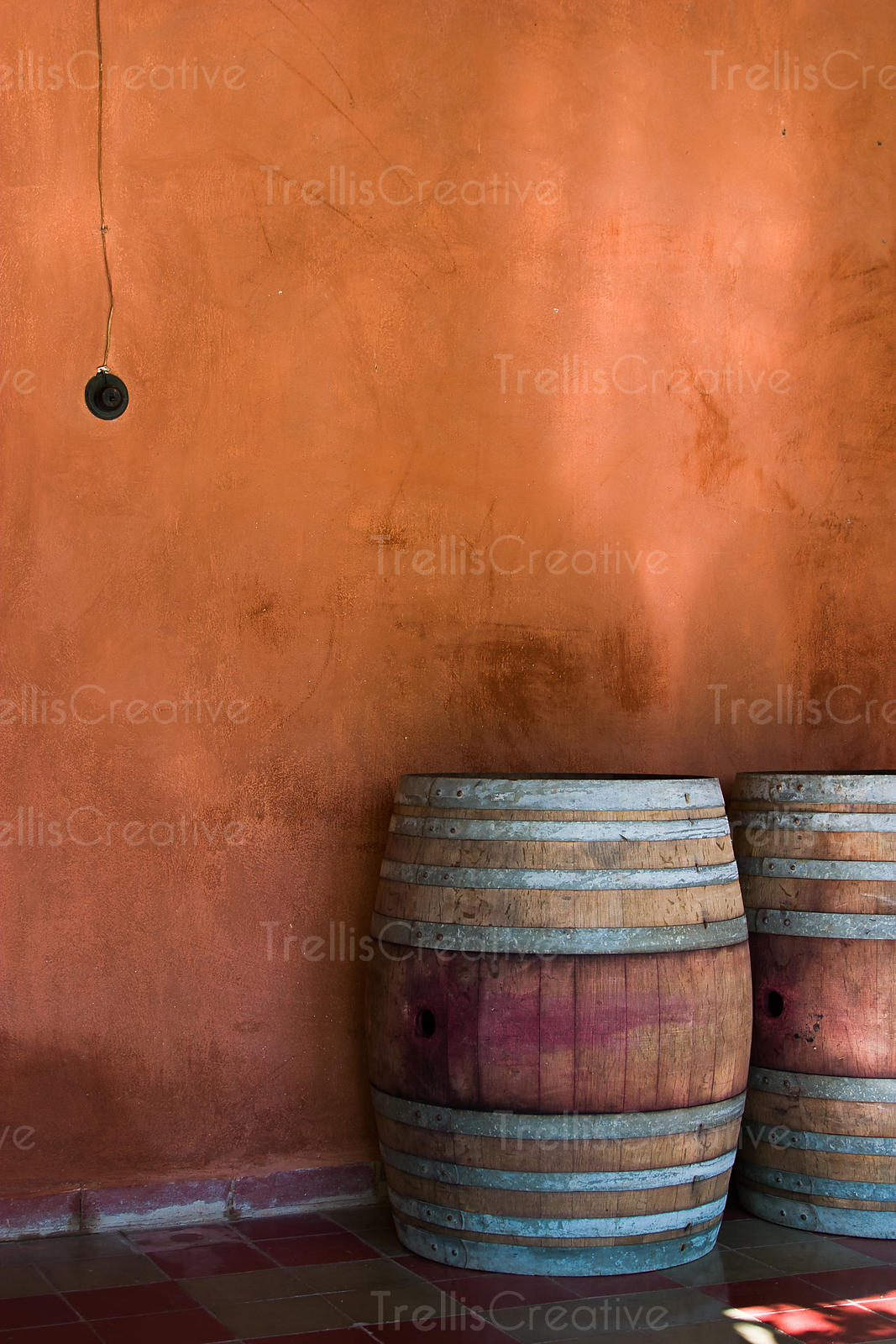 Oak wine barrels in front of a terracotta wall at a winery