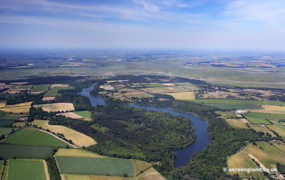 aerial photograph of Fritton Lake near Great Yarmouth Norfolk UK