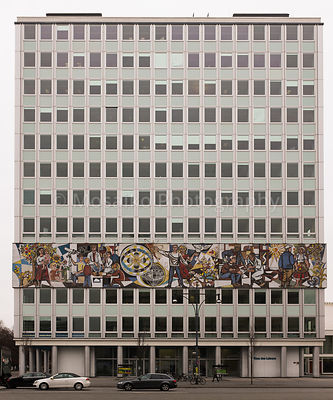 "BERLIN - FEBRUARY 16: The ""Haus des Lehrers"" (German for House of the teacher) with a mural from Walter Womacka in Berlin Mitte on February 16, 2016. Next to Alexanderplatz, built under the GDR."