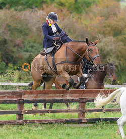 Abigail Shaw jumping a hunt jump at Thorpe Satchville - Quorn Hunt Opening Meet 2016