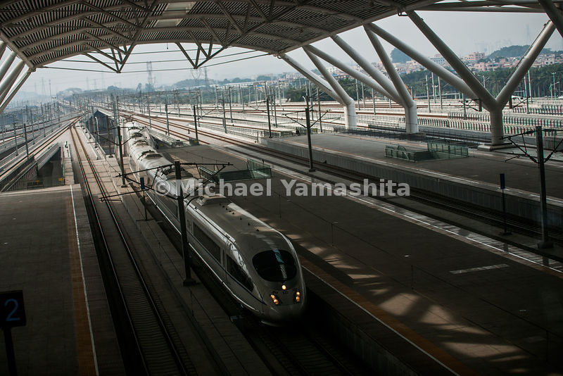 Guangzhou to Wuhan high speed bullet train capable of speeds up to 380km/hr. operating since January, 2010 Does the trip in 3hrs, 16min. 78million passengers/year. Normal trains take 12hrs. Technology from Siemens, Germany. Pics of the train station.