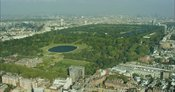 London Aerial Footage of Kensington Gardens with Kensington Palace and Round Pond.