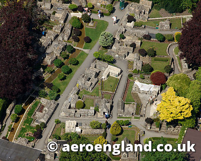 aerial photograph of Model Village Bourton-on-the-Water in the  Cotswolds Gloucestershire  England UK