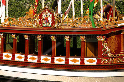 The Gloriana royal Row Barge with its Ornate paintwork and Royal Crest