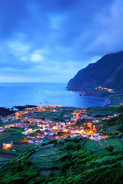 The little village of Fajã Grande at night. The westernmost location in Europe. Flores, Azores islands, Portugal