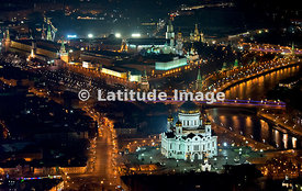 Moscow, Russia. Cathedral of Christ the Saviour and Moscow Kremlin.