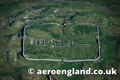 aerial photograph of Hardknott Roman Fort - Mediobogdum in the Lake District Cumbria England UK