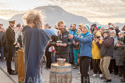 The ceremony of crossing the Line in the Arctic Circle on a Hurtigruten Ship