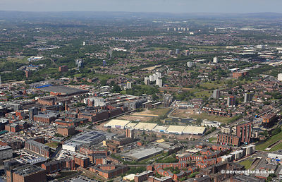 aerial photograph of Ancoats Manchester England UK