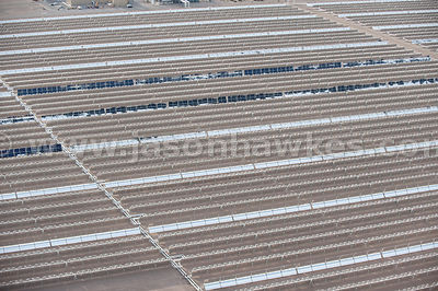 Aerial view of Solar One, solar power plant, Nevada Desert