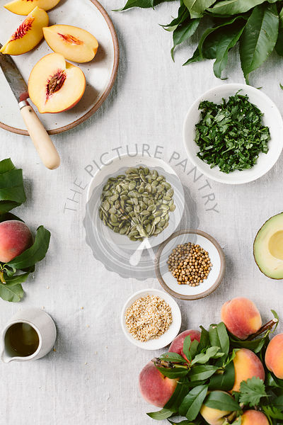 Ingredients for Fresh Peach Avocado Salad