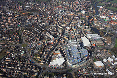 aerial photograph of  Derby city centre Derbyshire England UK