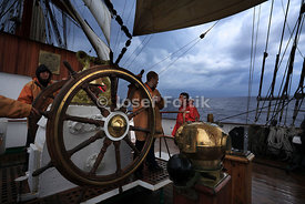 Helming of the Sedov four masted barque, Funchal 500 Race 2008, Atlantic Ocean