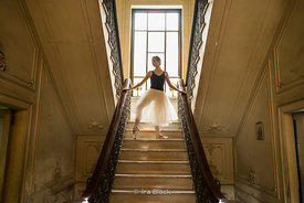 Ballerinas pose at an old Havana home in Cuba.