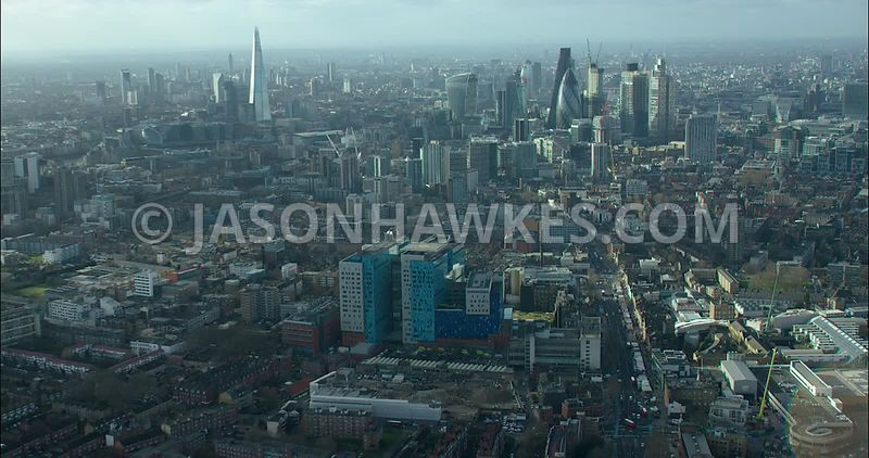 London Aerial footage, Royal London Hospital towards City of London skyline.