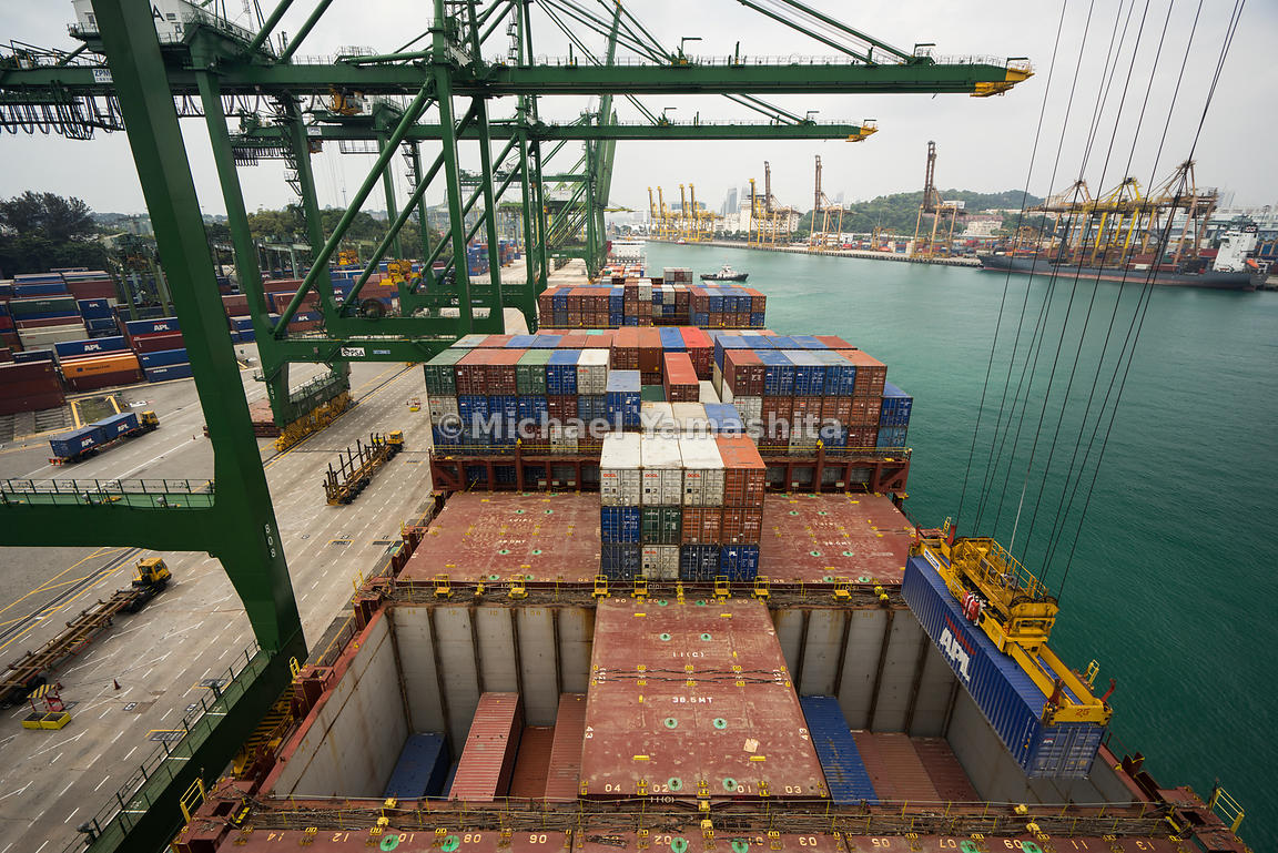 container ship at PSA port at Tanjong Pagar