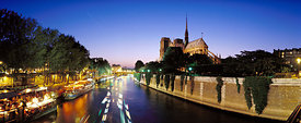 Notre Dame cathedral and the Seine in the twilight, Paris