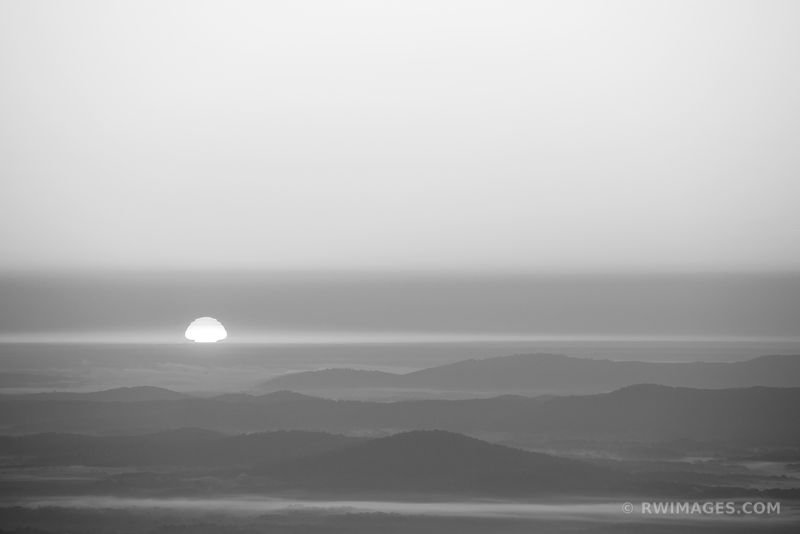 SUNRISE SHENANDOAH VALLEY SHENANDOAH NATIONAL PARK VIRGINIA BLACK AND WHITE
