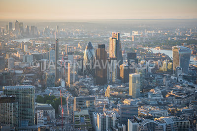 Aerial view of London 30 St Mary;s Axe and 20 Fenchurch Street towards Canary Wharf
