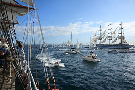 Sail trainng ship Mir from four maste barque Sedov on start of Funchal 500 race 2008, near Falmouth, Great Britain