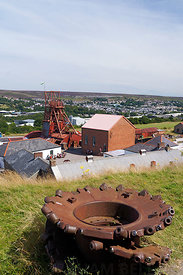 Pit Head Winding Gear, Big Pit Mining Museum, Blaenavon, Torfaen, South Wales, UK.