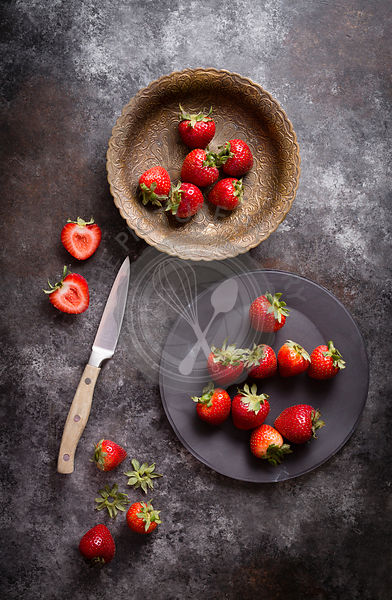 Strawberries on a old cookie sheet backdrop