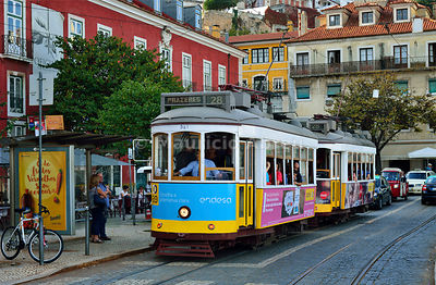 The famous tramway number 28 in Alfama district. Lisbon, Portugal