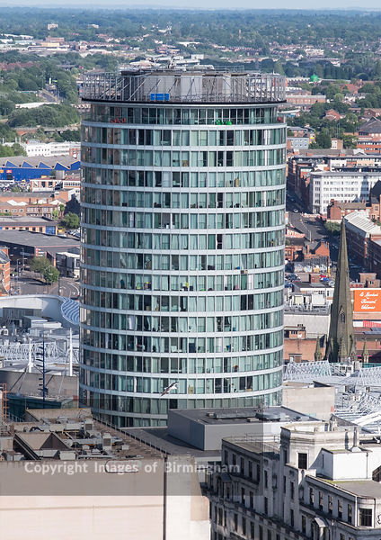 Aerial photograph of Birmingham City Centre, England. The Rotunda building.