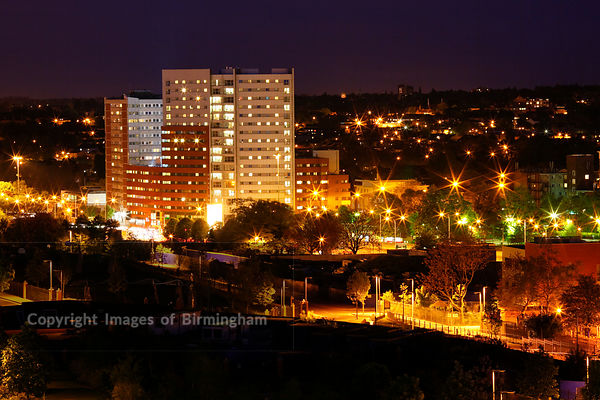 Opal One residential development, at night. Birmingham, West Midlands, England.
