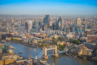 Aerial view of London, 20 Fenchurch Street with Tower Hill and Tower of London.
