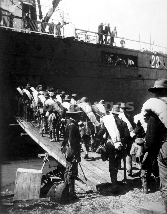 Boarding transport for the 71st N.Y. Volunteers during war with Spain