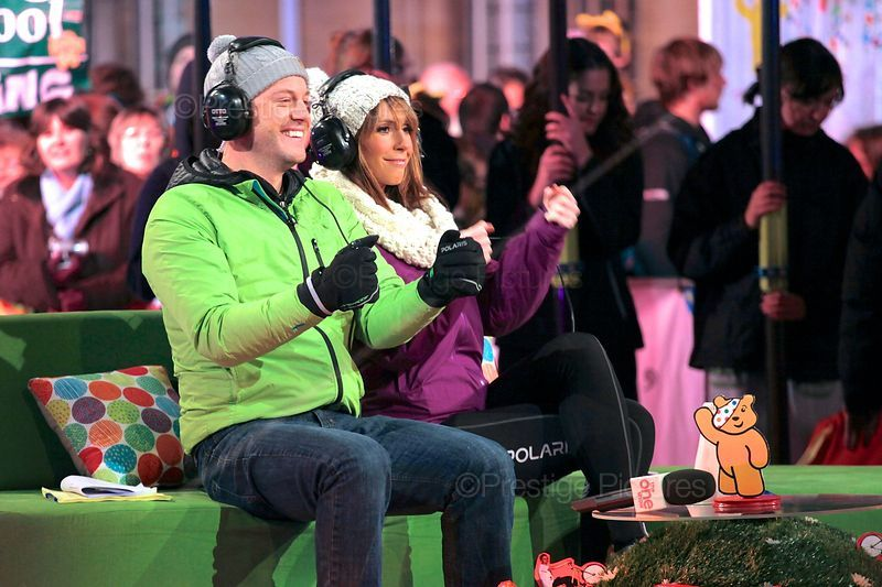 Presenters Alex Jones and Matt Baker Fooling Around as they sit on the set of The One Show