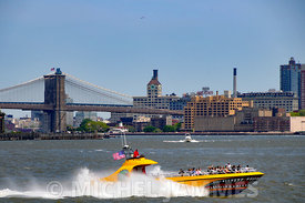 Manhattan, Brookling bridge et le fleuve Hudson