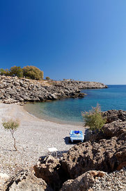 Small beach to the south of Stegna, Archangelos, Rhodes, Dodecanese Islands, Greece.