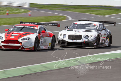 Oman Racing Aston Martin Vantage GT3 and M-Sport Bentley Continental GT3, in action at the Silverstone 500 - the third round of the British GT Championship 2014 - 1st June 2014
