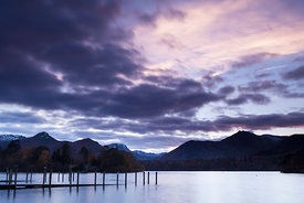 View towards the Newland valley fells from Derwent water at Sunset