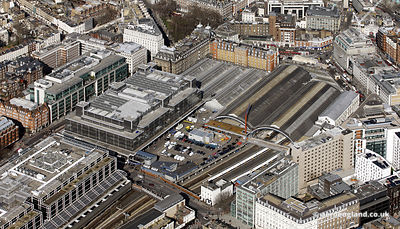 aerial photograph of London Victoria station England UK