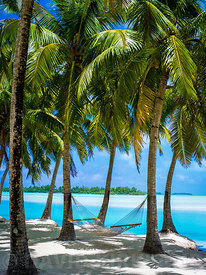 Hammock looking out across Aitutaki Lagoon, Cook Islands