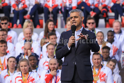 Mayor of London Sadiq Kahn Speaking to the Crowd in Trafalgar Square