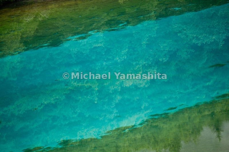 Jiuzhaigou in Spring.  Five-Colored Lake at dawn/morning. The most colorful of all the lakes.