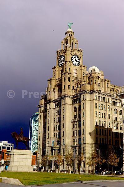 The Royal Liver Building against a Stormy Sky