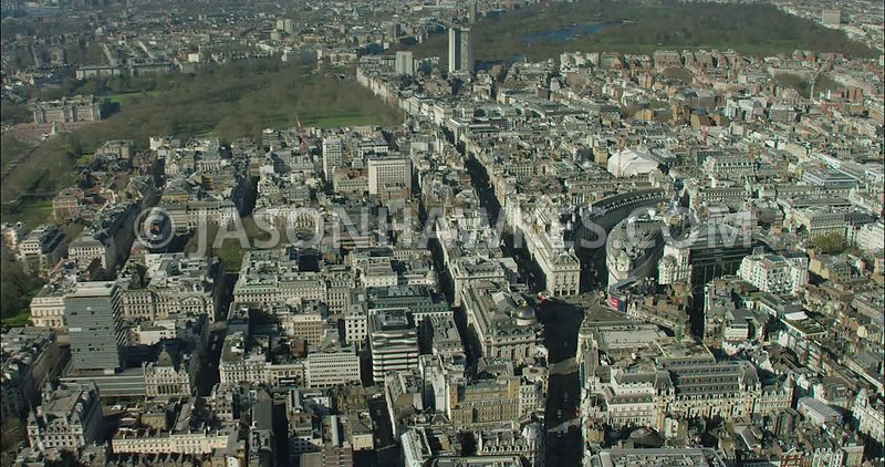London Aerial Footage from Leicester Square towards Golden Square.