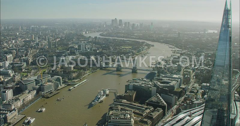 London Aerial Footage of The Shard with Tower Bridge.