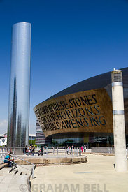 Wales Millennium Centre and Roald Dahl Plas, Cardiff Bay, Cardiff, Wales, UK.