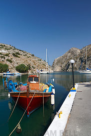 The Deep Harbour of Rina at the end of a narrow inlet, Vathi, Kalymnos, Dodecanese Islands, Greece.