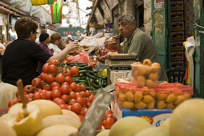 Israel - Jerusalem - Shoppers at the Mahane Yahuda Market,