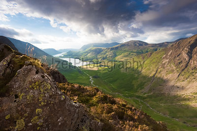 Looking down Warnscale Bottom towards Lake Buttermere with Fleetwith Pike on the right. Taken from Haystacks in the Lake District, UK.