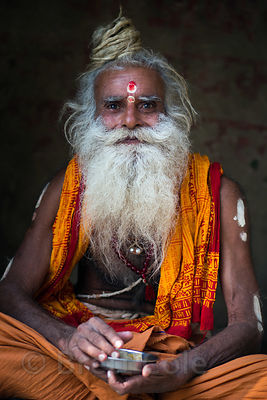 Portrait of a Sadhu or holy man, Meer Ghat, Varanasi, India